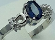 14 Ct White Gold Sapphire Ring With Diamonds, Sapphire:0.65ct, Diamond:0.15Ct, Total Weight:2.40g, Size 18mm