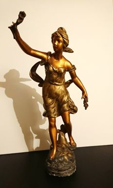 Signed Guillemin sculpture of young woman with flowers, c. 1900