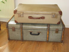 2 old suitcases, 1950s, decorative