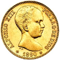Spain - Alfonso XIII, 20 pesetas gold coin. Madrid - 1890