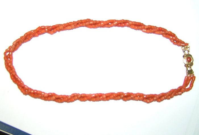 Antique three-stranded red coral necklace