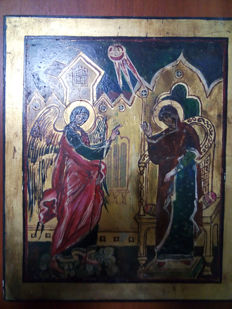 20th century ortodox russian icon of Phenomenon of an angel hand painted
