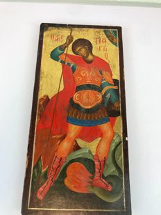 Russian icon of George the dragon slayer - Greece - 20th century