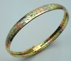 14 Ct Gold  Three Color Gold Cleopatra Bracelet, Length 18 cm, Total 14.20g