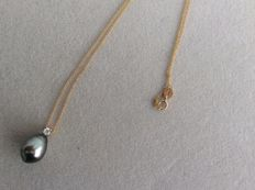 Tahiti 10-12 mm pearl pendant with gold necklace