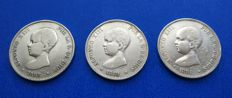 Spain - Lot of 3 coins of 5 pesetas Alfonso XIII 'Pelón' 1888 MP M - 1889 MP M -1891 PG M - Madrid