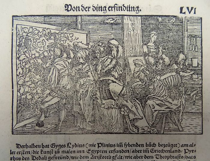 Master of Petrach [Hans Weiditz 1495-1537] - Illustrated post-incunabula leaf with 2 fine woodcuts - Artists Studio ; Potter's Wheel - Woodcuts recto and verso of one leaf - 1544