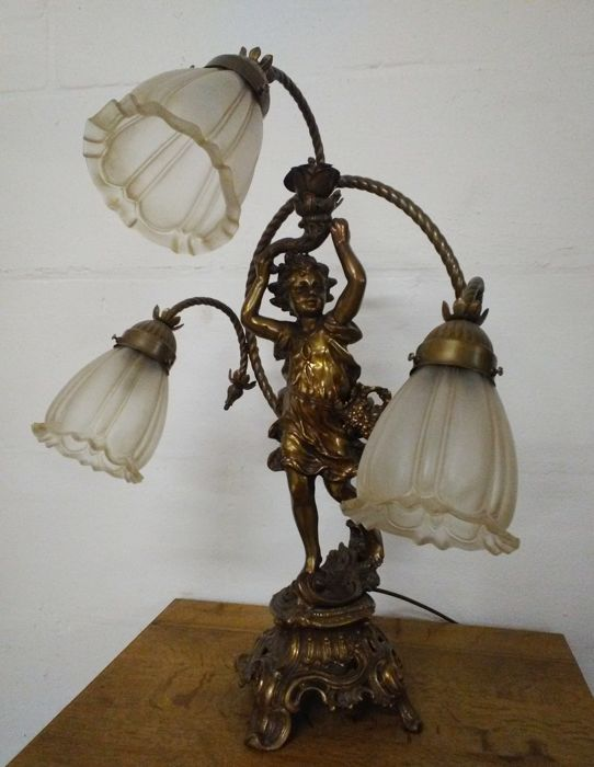 Large Table Lamp, Desk Lamp   Bronze Cherub With 3 Glass Shades