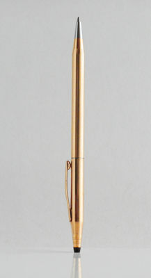 Cross Classic Century: total gold plated ballpoint pen with line decoration, high-tech styled, elegant design (C014)