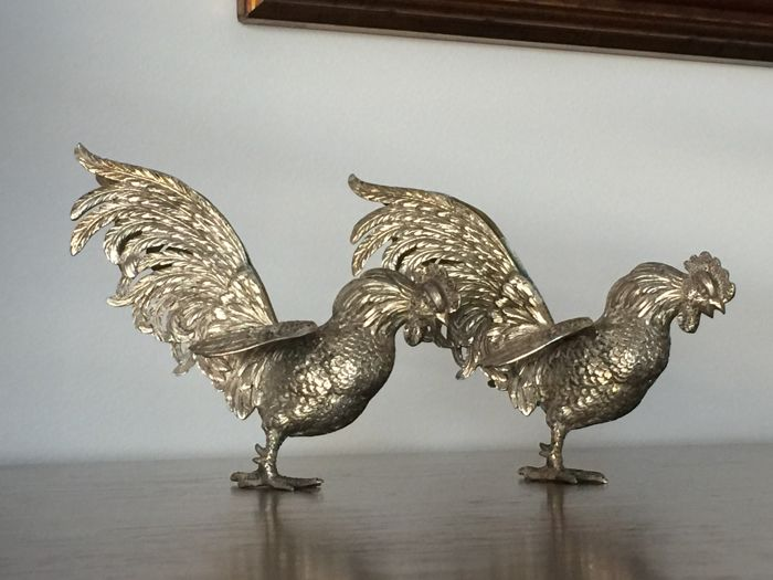 Pair of Roosters in Silver 833, Portugal, 19th century