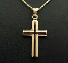 14 Ct Yellow Gold Chain & Cross, Chain 50 cm, Cross 4x2 cm, Total Weight:2.90g