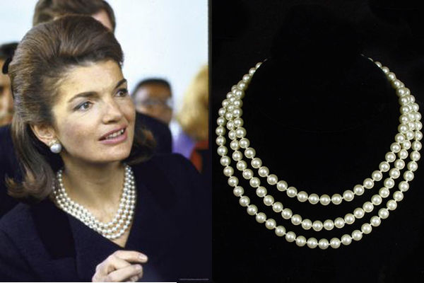 Camrose & Kross - Jackie Bouvier Kennedy -  Faux Pearls, Rhodium Plate, Swarovski Crystals - 3 row Pearl Necklace in box and certificate