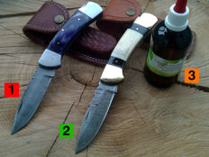 2 beautiful handmade pocket knives / folding knives made of Damascus steel + 100 ml camellia care oil for the care of the blade and the handle