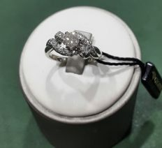 Solitaire ring with diamond in 18 kt white gold (750/1000), brilliant cut, 0.40 ct - size 13/53