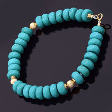 18kt/750 yellow gold bracelet with turquoise – Length 24 cm. / 20 cm. useful length (inside circumference size)