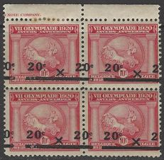Belgium - Olympiad 1920, Antwerp, with spectacular SHIFTED overprint 20 c on 10 c carmine, in block of 4 - OBP 185