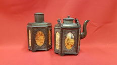 Tin tea canister and matching teapot with erotic depictions, Swatow - China - late 20th century