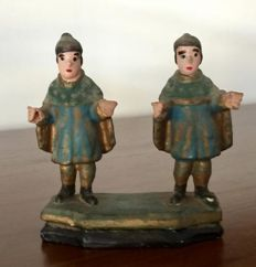 Polychrome Wood sculpture of St. Cosme and Damian - Brazil - 19th century