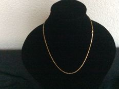14 kt gold king's braid necklace 54 cm long 2 mm square