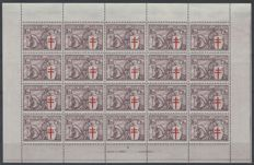 Belgium 1934 - Fight against Tuberculosis type 'Knight' - Sheetlet of 20x 5F + 5F no. 400 - OBP F400