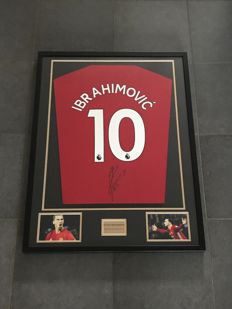 Zlatan Ibrahimovic signed framed Manchester United home 2017-2018 shirt with photo of the moment of signing and COA