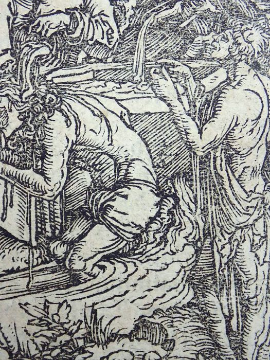 Master of Petrach [Hans Weiditz 1495-1537] - Illustrated post-incunabula leaf with a fine woodcut - The Sacrement of Baptism - 1544