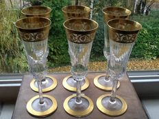 St Louis - 6 champagneflutes model Thistlet gold.