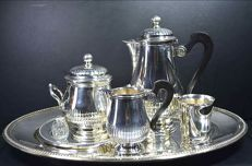 Christofle France Coffee/tea set with extras, Collection GALLIA - production CHRISTOFLE - France - Ca. 1935-1983