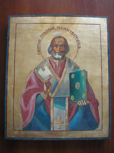 20th century ortodox russian icon of st.Nikolaj hand painted