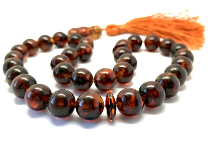 Islamic rosary tesbih of 33 natural amber beads ø11.5 mm, 34 grams - no reserve