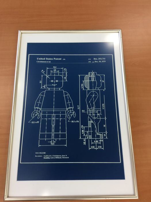 Assorted blueprint patent application lego mini figure in frame assorted blueprint patent application lego mini figure in frame reproduction engraving in blue plastic malvernweather Image collections