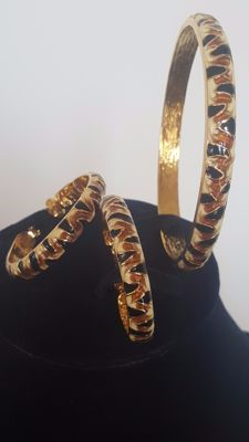 Kenneth Jay Lane 22kt Gold Plated Set of Tiger Bracelet and matching hoop Earrings