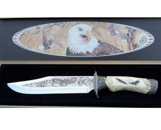 Hunting knife or dagger with eagle in beautiful box