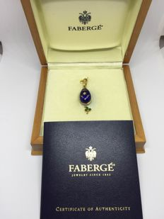 Faberge 18K Yellow Gold Egg Pendant, Length: 3cm Length with Charm: 4.5cm Width: 1cm