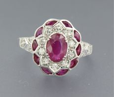 ***** NO RESERVE PRICE ****** 14k white gold ring set with ruby and 16 single cut diamond approximately 1.44 carat in total