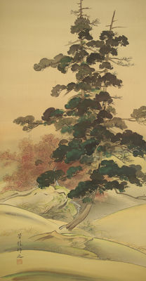"Hand-painted hanging scroll - signed and sealed 'Horyu' - ""Moon, Pine and Maple Tree"" - Japan - Early 20th century"