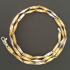 18 kt white and yellow gold bi-colour necklace - Length: 50 cm