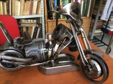 Static model: craft custom made motorcycle from 1980, built with recycled mechanical parts