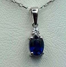 14 Ct White Gold Chain and Sapphire Pendant With Diamond, Sapphire :0.60ct, Diamond 0.03Ct, Chain 45cm , pendant :1.5cm,Total Weight 1.84g