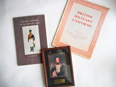 Lot - Napoleonic militaria - two antiquarian books about English uniforms and a framed print