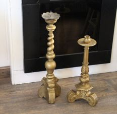 set of two hand-carved bronze candlesticks, Holland - circa 1900-1920