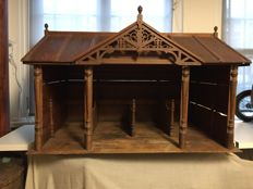 Wooden model of a horse stable - probably belonging to the Castle Marquette in Heemskerk - Ca. 1900, the Netherlands