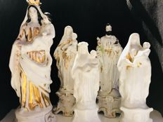 5 Fine porcelain statuettes: Virgin Mary & Saint Joseph