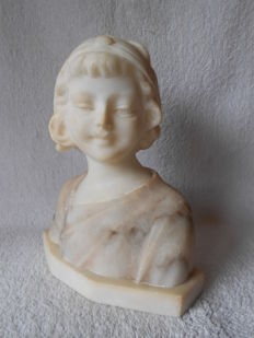 A. Trefoloni - lovely alabaster bust of a young girl - Italy - c. 1900