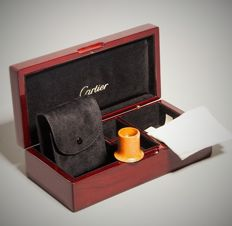 Cartier Mahogany Gift Box Set ;  Magnifying Glass / Loupe & Cloth & Bag – France 2017 – No Reserve Price