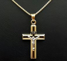 14 Ct Yellow & White Gold Chain and Crucifix, chain 50cm, Cross 3,5×2cm, Total weight :3.15g
