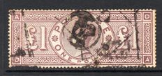 Great Britain, Queen Victoria -  Stanley Gibbons 185, £1 Brown Lilac