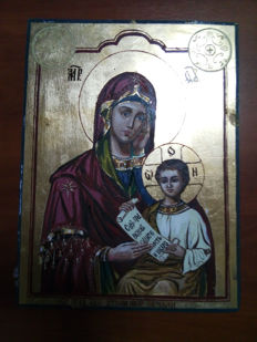 20th century ortodox russian icon of virgin Mary hand painted