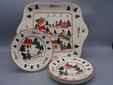 Mason's Christmas village serving tray and saucers