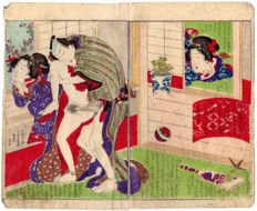 Original shunga woodblock-printed double page illustration by an unknown artist - Two lovers and a voyeur - Japan - ca. 1860